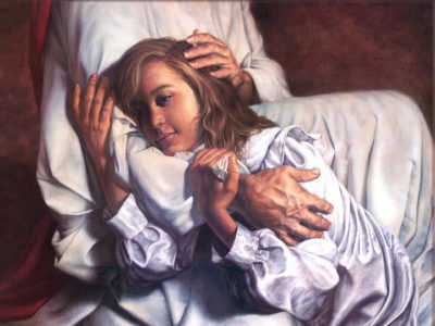 Jesus hugging woman tightly holding on